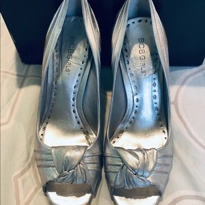 BCBG Girls silver leather shoe